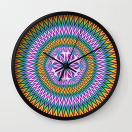 Floral Motif in Chevron Rings Wall Clock