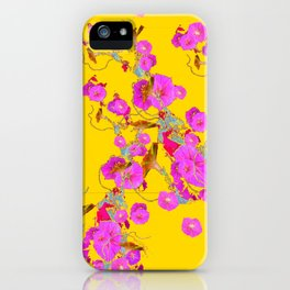 Pink Morning Glories on Gold Art Design iPhone Case