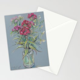 Chinese Carnations bouquet in the glass jar Classic Still Life Pastel sketch Colorful drawing Stationery Cards