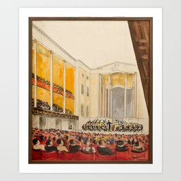 Inside the main auditorium (Stockholm Concert Hall), with the orchestra, Isaac Grunewald, (1889-1946 Art Print