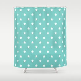 Blue Tiffany With White Stars Pattern Shower Curtain