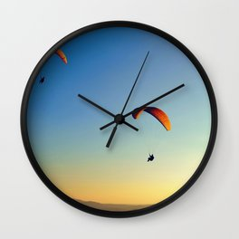two paragliders in the sky Wall Clock