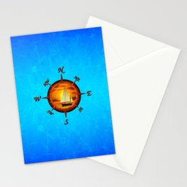 Sailboat And Compass Rose Stationery Cards