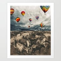 balloons Art Prints featuring Balloons by Mrs Araneae