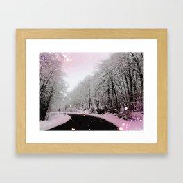 Pink on Snow Framed Art Print