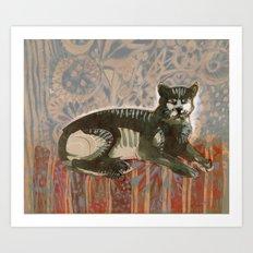 Cat on the sofa Art Print