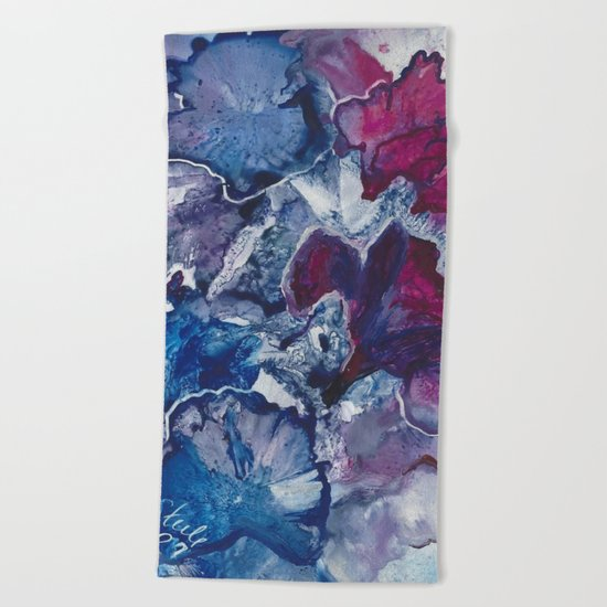 Blue and Red Abstract encaustic flowers Beach Towel