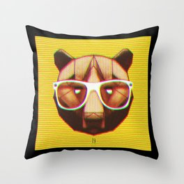 3D GEEKY GRIZZLY BEAR Throw Pillow