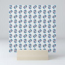 Simple geometric discs pattern blue and azure Mini Art Print