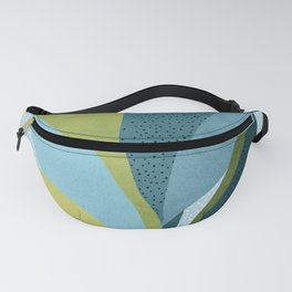 In The Shadows / Abstract Maximal Flora in French Blue and Olive Fanny Pack