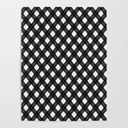 Black White and Gray Argyle Plaid Pattern Poster