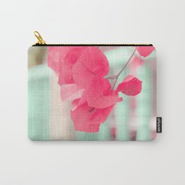 Pink Leafs on Blue Fence  Carry-All Pouch