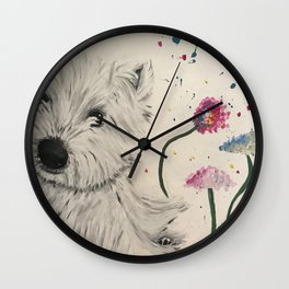 woof with flowers Wall Clock