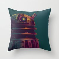 dalek Throw Pillows featuring Dalek by KiloWhat
