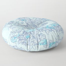 """Alphonse Mucha """"Anemones, Apple Blossoms and Narcissi"""" (edited blue) Floor Pillow"""