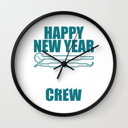 Happy New Year Dentist Crew 2020 January 1st Fireworks Merry Christmas Xmas T-shirt Design Wall Clock