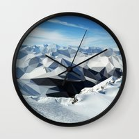 low poly Wall Clocks featuring low poly mountains by tony tudor