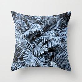 Fern | Sapphire | Deep Blue Botanical Art Throw Pillow