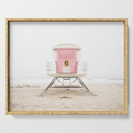 Beach photography pink tower Serving Tray