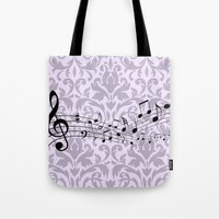 music notes Tote Bags featuring Damask Music Notes by Jessica Wray