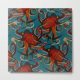 octopus ink teal Metal Print