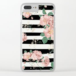 VINTAGE FLORAL ROSES BLACK AND WHITE STRIPES Clear iPhone Case
