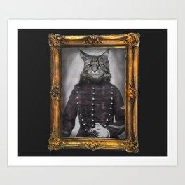old painting cat hussard Art Print