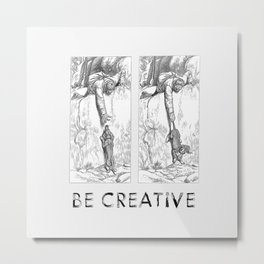 BE CREATIVE - Funny Dachshund Dog Illustration Metal Print
