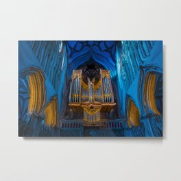 Blue Cathedral Gold Pipe Organ Metal Print