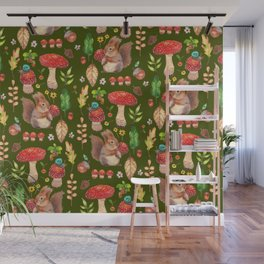 Red mushrooms and friends - GBG Wall Mural