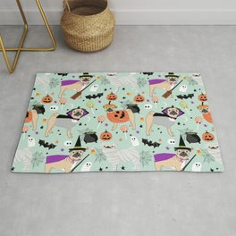 Pug halloween costumes mummy witch vampire pug dog breed pattern by pet friendly Rug