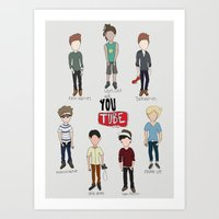 youtube Art Prints featuring Youtube Boys  by Natasha Ramon