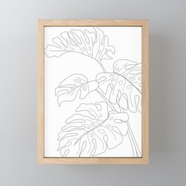 Line Art Monstera Leaves Framed Mini Art Print