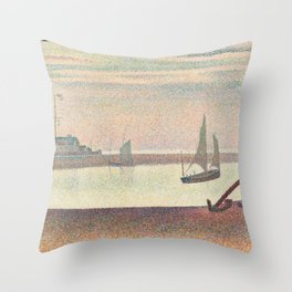 Georges Seurat - The Channel at Gravelines, Evening Throw Pillow