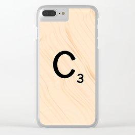 Scrabble Tile C - Large Scrabble Letters Clear iPhone Case