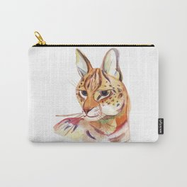 Serval wild cat watercolor Carry-All Pouch