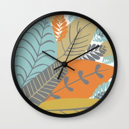 Bright Tropical Leaf Retro Mid Century Modern Wall Clock
