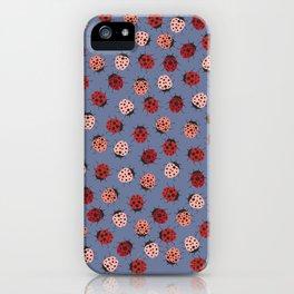 All over Modern Ladybug on Plum Background iPhone Case
