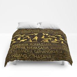 Gold Yoga Asanas / Poses Sanskrit Word Art Comforters