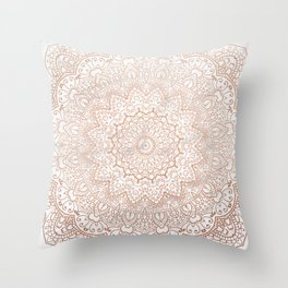 Mandala - rose gold and white marble 3 Throw Pillow