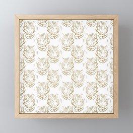 Elegant Gold Glitter Tiger Print White Design Framed Mini Art Print