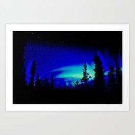 Aurora Borealis Forest Vibrant Art Print