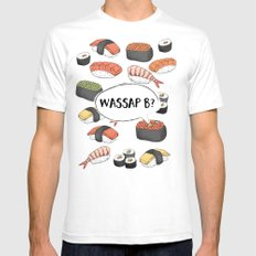 WASSAP B? SMALL White Mens Fitted Tee