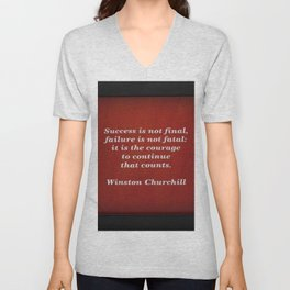 Winston Churchill Success Quote - Corbin Henry - Famous Quotes Unisex V-Neck
