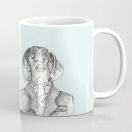 Elegant dog painting, hound dog in tweed coat pen and ink, ascot scarf, hipster dog art Coffee Mug