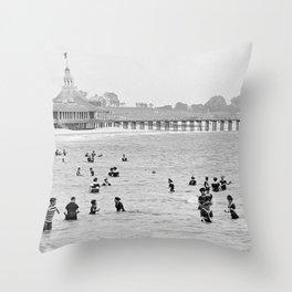 1895 Narragansett Pier and Beach, Narragansett, Rhode Island Throw Pillow