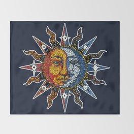 Celestial Mosaic Sun and Moon Throw Blanket