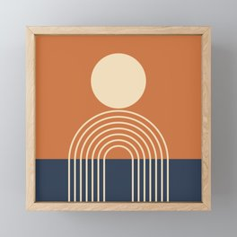 Geometric Lines in Terracotta Navy Blue (Sun and Rainbow abstraction) Framed Mini Art Print