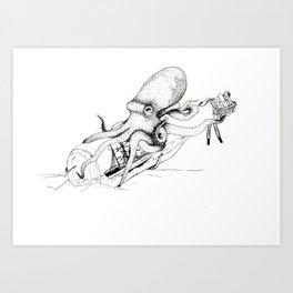 Kraken and the Ship Art Print