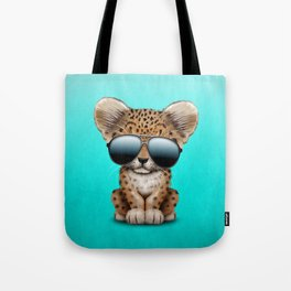 Cute Baby Leopard Wearing Sunglasses Tote Bag